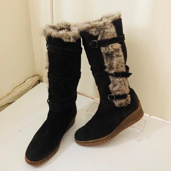 00e6df1557f69 Aquatalia Shoes - Aquatalia fur edge   lined Buckle trim suede boot